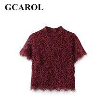 Gcarol 2017 женщин евро стиль кружева вязание блузка полупрозрачная блузка мода sexy кружева обрезанные топы новое лето весна clothing
