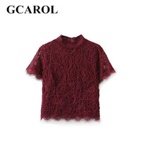 GCAROL 2017 Women Euro Style Lace Knitting Blouse Translucent Blouse Fashion Sexy Lace Cropped Tops New