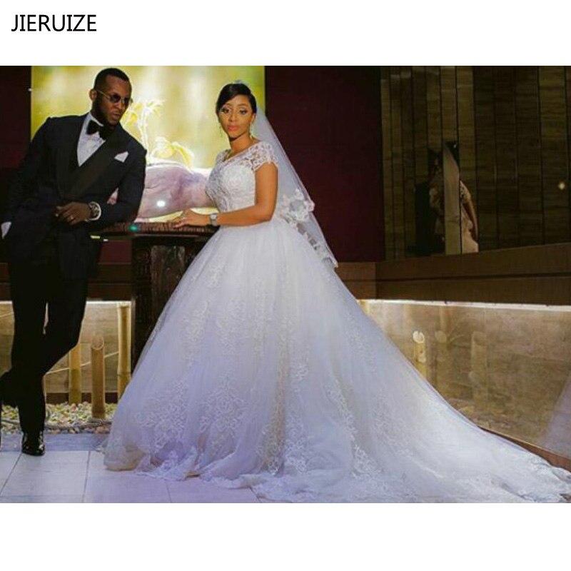 JIERUIZE Vintage Lace Appliques Ball Gown Wedding Dresses 2019 Short Sleeves Cheap Wedding Gowns Bride Dresses