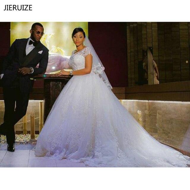 JIERUIZE Vintage Lace Apliques vestido de Baile Vestidos de Casamento 2019 Mangas Curtas Baratos Vestidos de Casamento Vestidos de Noiva vestido de novia