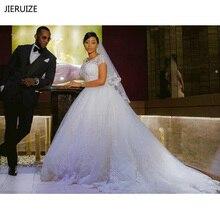 JIERUIZE Vintage Spitze Appliques Ballkleid Hochzeit Kleider 2020 Kurzen Ärmeln Günstige Hochzeit Kleider Braut Kleider vestido de novia