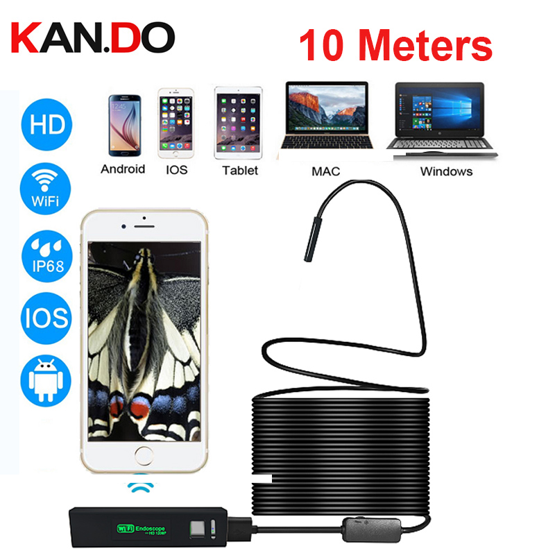 new 2017 IP68 HD 10M 8LED semi rigid cable endoscope for IOS,Mac,windows Endoscope Camera wifi Endoscope wifi inspection camera full hd 1080p optical zoom couplers endoscope coupler adapter medical endoscope camera adapter for rigid endoscope