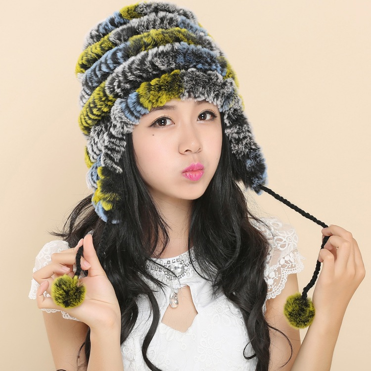 2016 New Genuine Knitted Rex Rabbit Fur Hat Fashion Ear Muff Ear Warmer Scarf Cap Winter