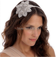 Rhinestone Applique wedding Bride Headband Made of Crystal stone and Ribbon Handmade Wedding Headpiece