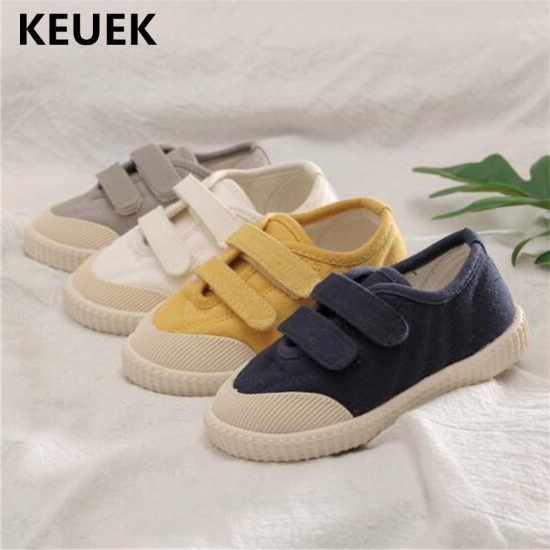 New Children Canvas Shoes Boys Girl Hook & Loop Breathable Cotton Fabric Sneakers Baby Toddler Shoes Kids Flats Fashion Wild 019