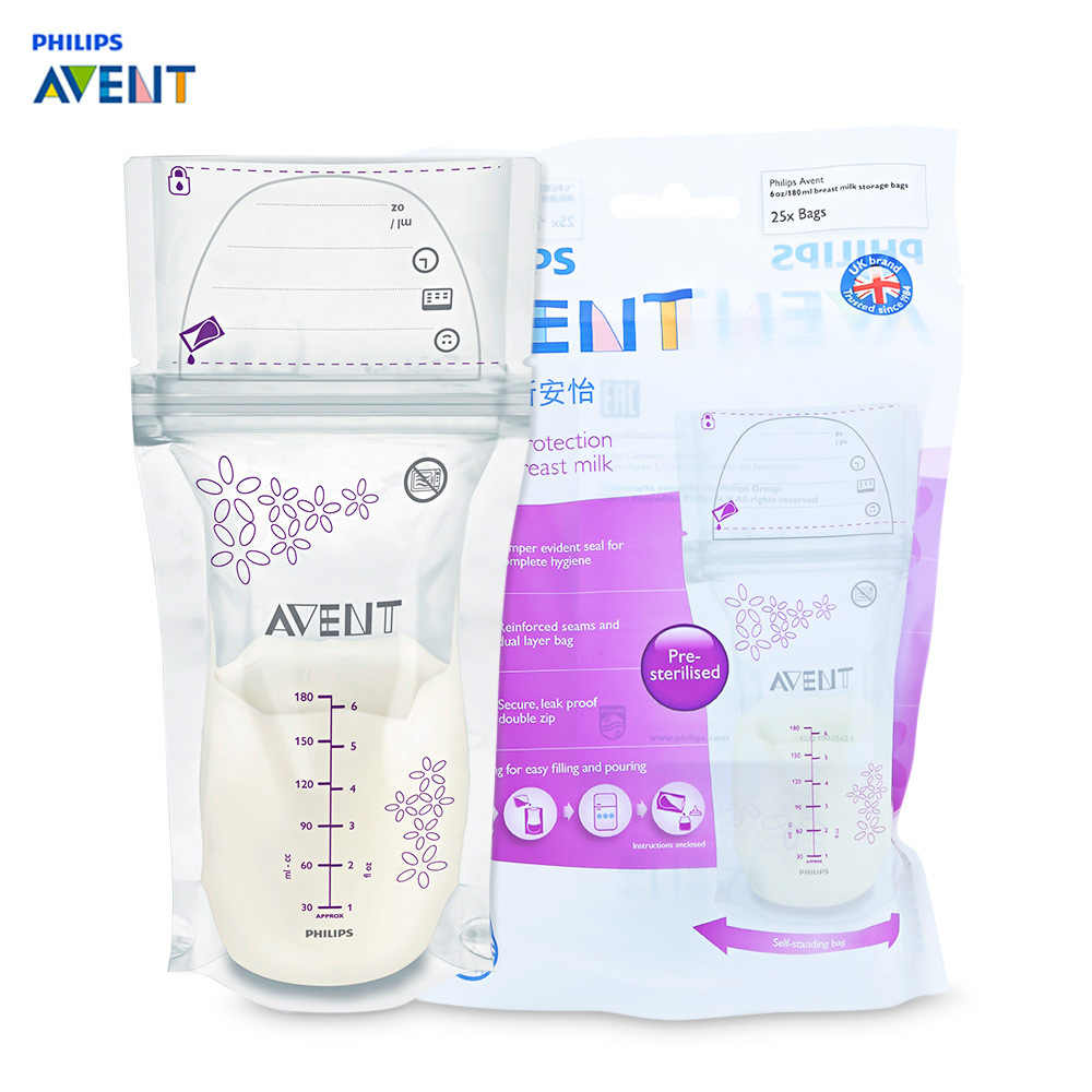 Philips Avent 25pcs 180ml Baby Breast Milk Storage Bag Breast Milk Powder Storage BPA Free Breastmilk Storage Bags Freezer Bags