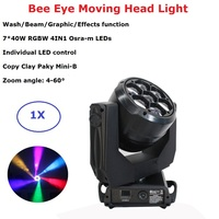 Dj Decorations Bee Eye Moving Head 7X40W RGBW 4IN1 LED Moving Head Light Wash Beam Zoom Effect Light Wedding Holiday Dj Light