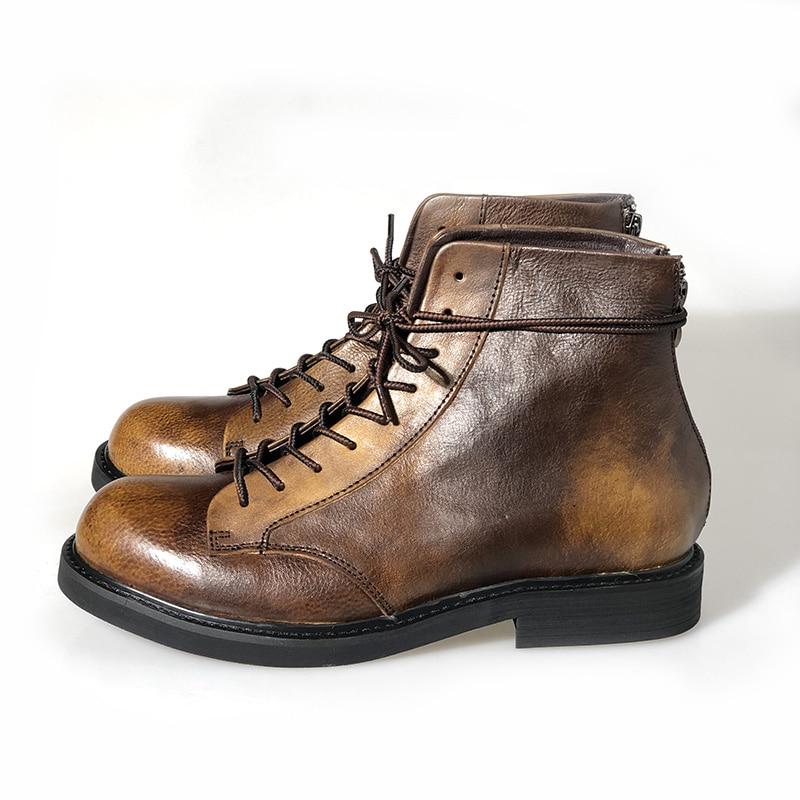 Grandes Estilo Hombres Cuero Moto Zapatos Uu Ee Tobillo Genuino Zapatillas Marrón Casuales De Los Tamaño Lujo Botas Encaje Alta Superior aqdTgwg