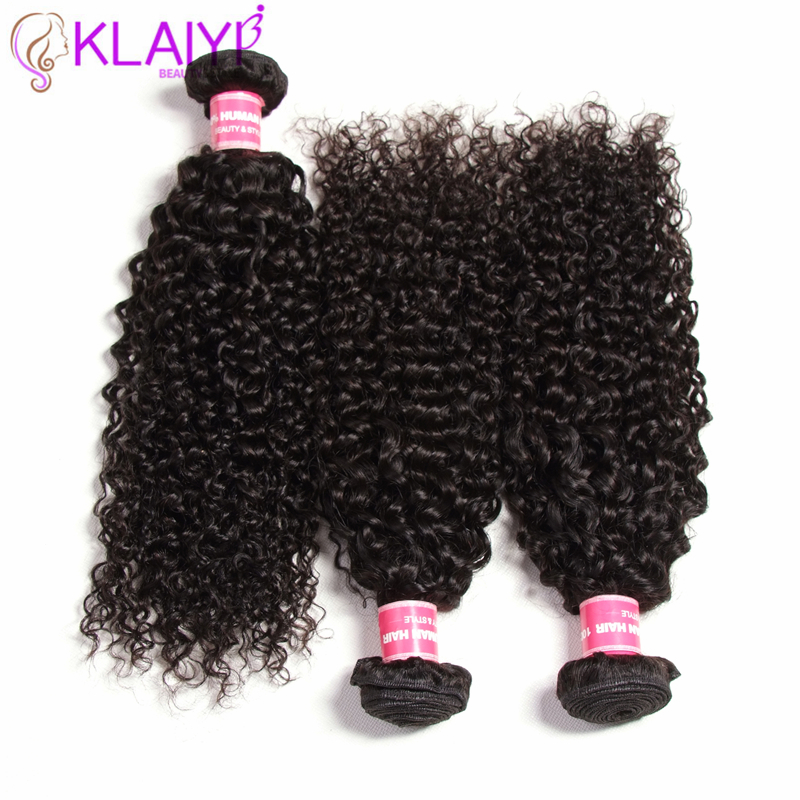 KLAIYI Hair Weft Peruvian Hair Bundles Curly Wave Natural Black Color 3 pcs lot Hair Extension