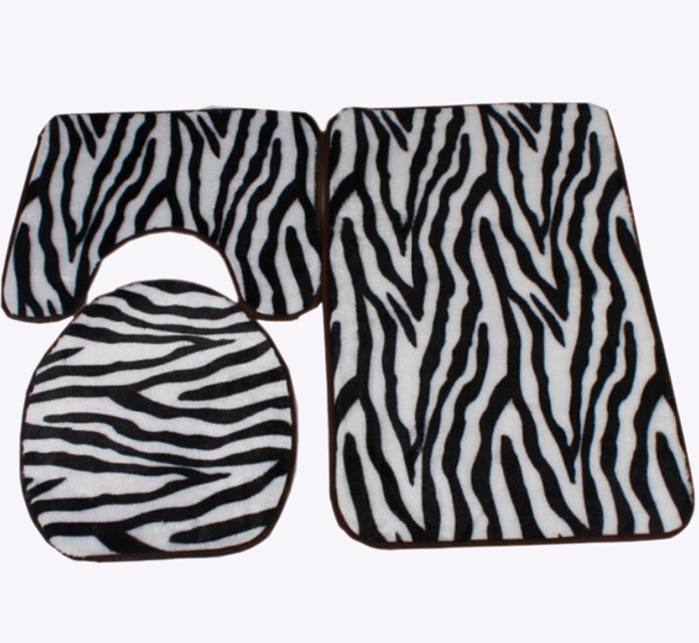 Zebra Print Black And White Bath Mat Toilet Rug Set 3