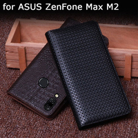 Genuine Leather Case for ASUS ZenFone Max M2 ZB633KL Fashion Phone Bag Cases for ASUS ZenFone Max M2 Business Flip Cover