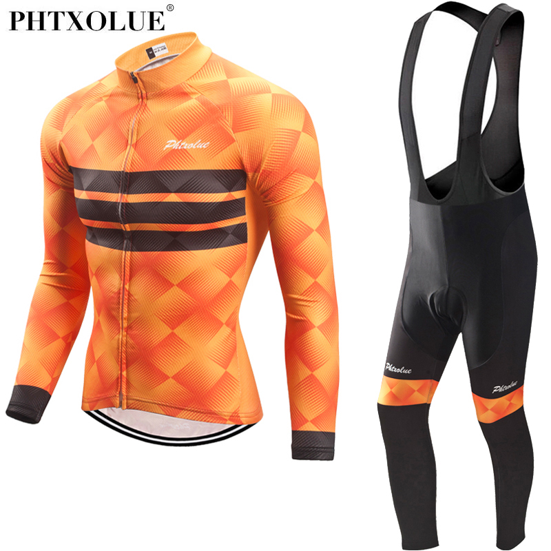Phtxolue Men Autumn Winter Thermal Cycling Clothing Set Blue Bike Clothing Bicycle Wear Kit Suit Long Sleeve Cycling Jersey Sets phtxolue cycling clothing bike clothing breathable quick dry men bicycle wear cycling sets short sleeve cycling jerseys sets
