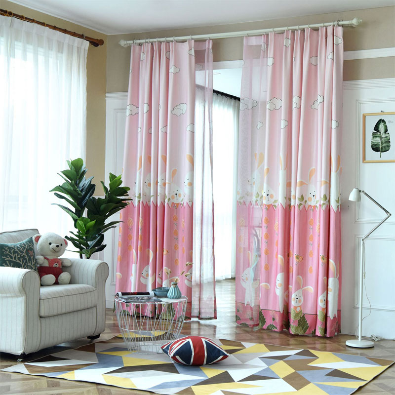 Cartoon Fan Bunny Print Curtains And Tulle Children S Room