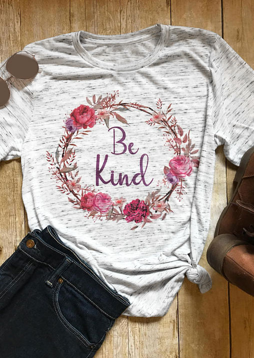 Be Kind Floral Flower Printed T Shirt Women Clothes 2018 Spring Summer Short Sleeve T shirt Harajuku Tee Girls Valentines Tops