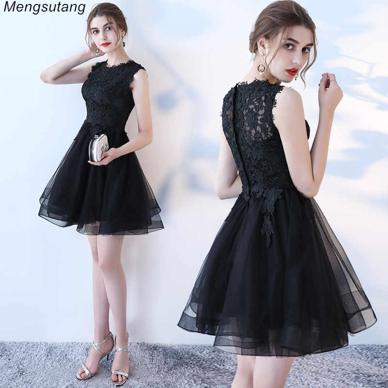 Халат de soiree черный тонкий с аппликацией Короткие вечерние платья Элегантный