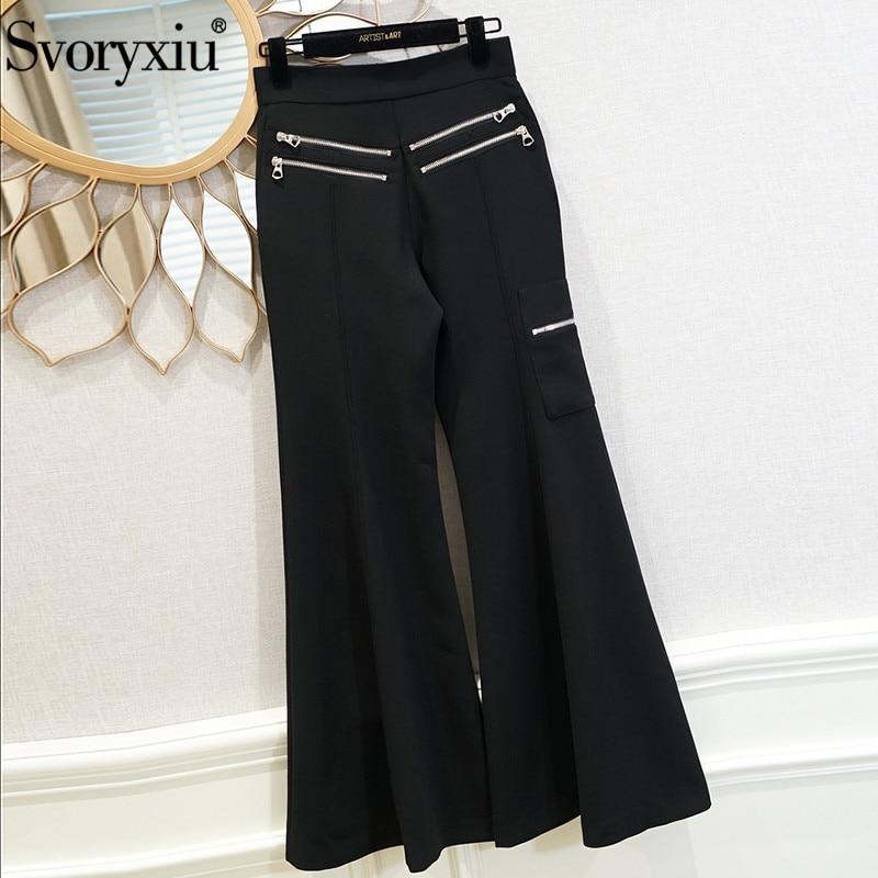Oficina Moda Las Pantalones Pierna Slim Calidad Mujeres Mujer Ancha Pista Svoryxiu De Negro Dama Llamarada Negro Alta marrón q50HnPw