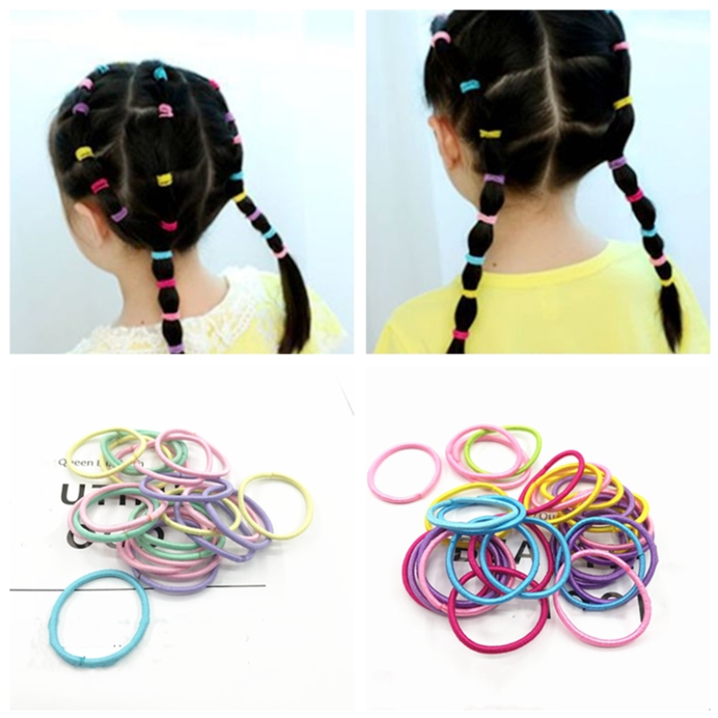 50pcs 3cm Girls Scrunchy Elastic Hair Bands Baby Rubber Bands Kids Hair Accessories Headband Decorations Ties Gum For Hair