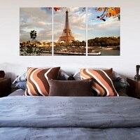 3 Pcs/Set Landscape Autumn The Eiffel Tower Canvas Prints Painting Modern Paris City Wall Art for Home Decor