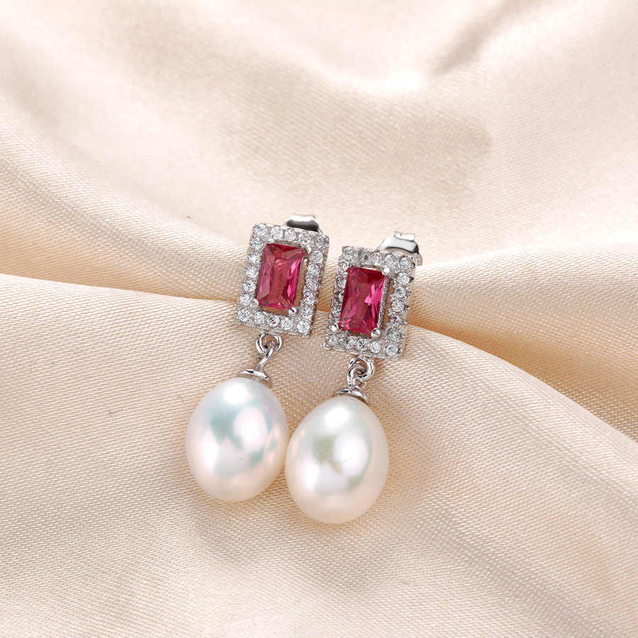 Clearance Sale ! Red Crystal High Luster Natural Freshwater Pearl Drop Earrings For Women Fashion Wedding Silver Jewelry WithBox