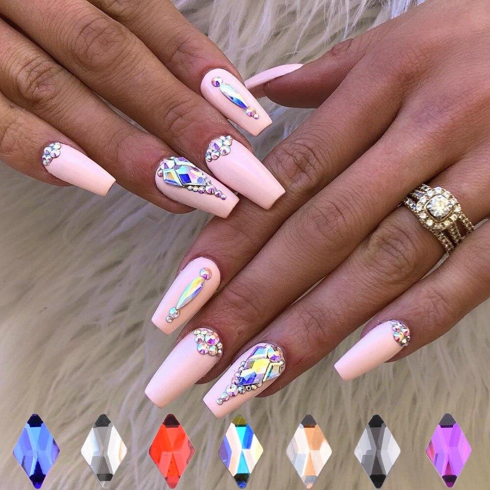 10 pçs arte do prego nova decoração de cristal unhas diamantes losango gemas strass para unhas decoração formas 3d pedras jóias tbl42
