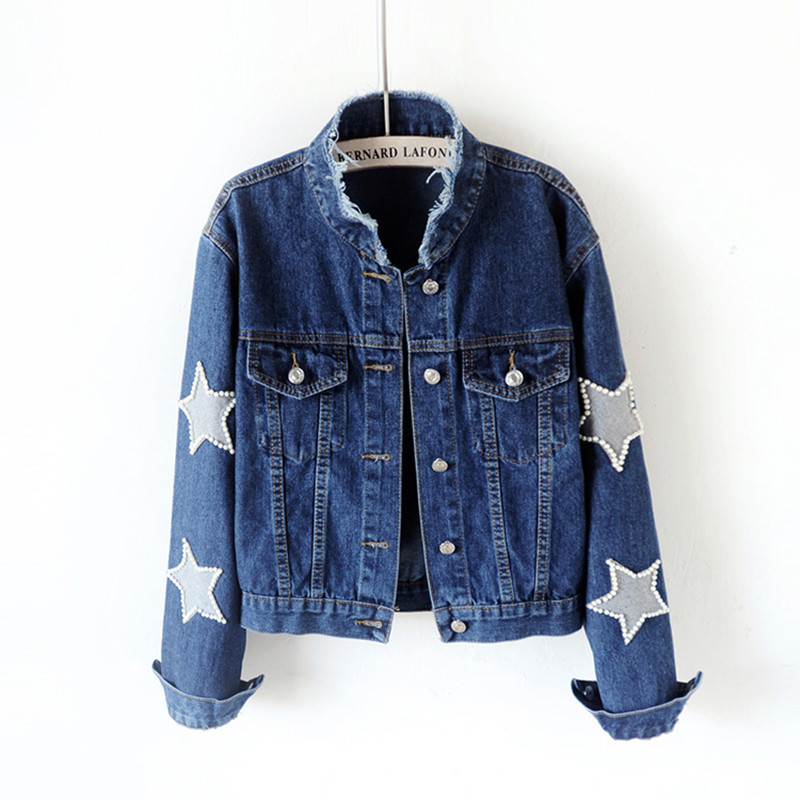 2018 frühling Neue Mode Denim Jacke Frauen Vintage Plus Größe Perlen Stern Kurzen Jean Jacken Harajuku Langarm Damen Mantel