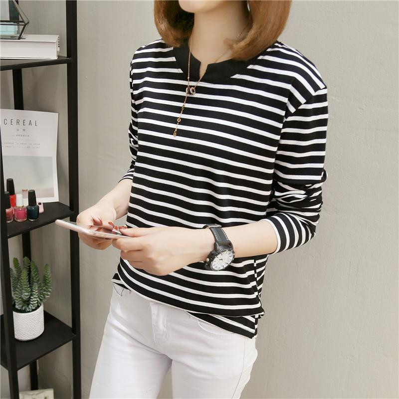 NFIVE Brand 2017 Women's Stripe Loose T-shirts Korean Autumn New Long Sleeved Large Size Shirt Quality Fashion Cotton T-shirt 4