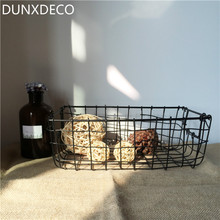 DUNXDECO Loft Modern Rectangle Thick Iron Wire Net Desk Storage Basket Multifuction Iron Craft Home Office Storage Decoration