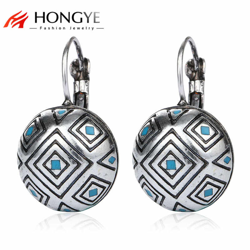 New Vintage Bohemian Antique Silver Gold-color Carving Earrings Fashion Jewelry Stud Earrings For Women Pendientes Mujer Moda