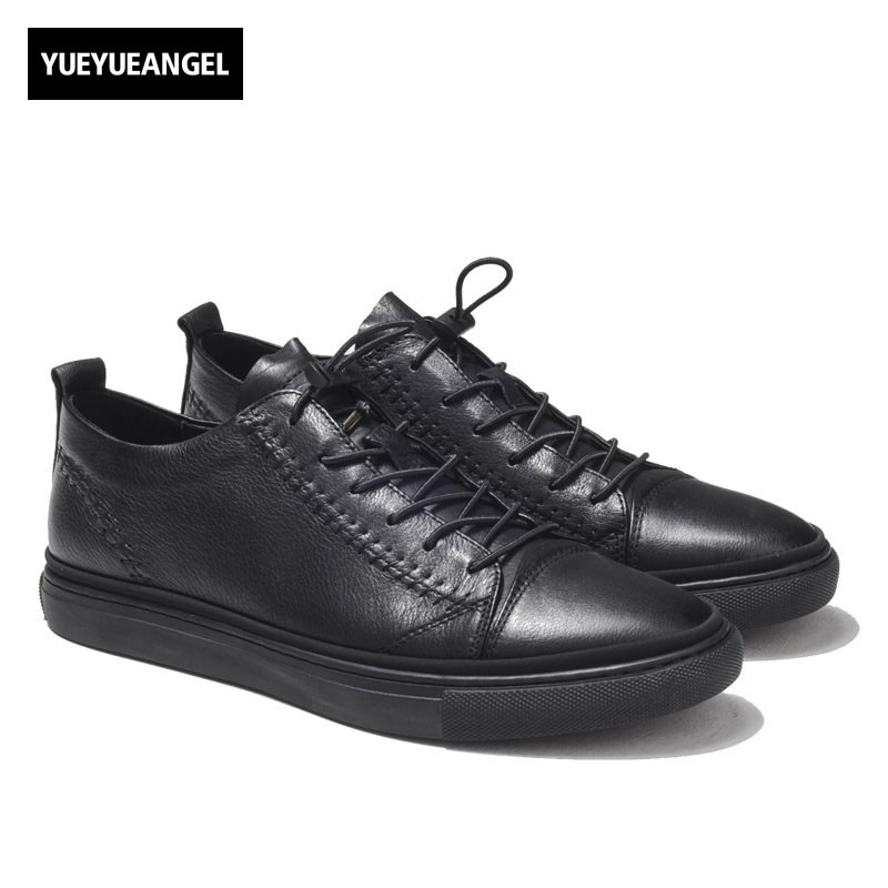 Luxury Men Genuine Leather Casual Shoes Lace Up Flats Driving Shoes Male 2018 Trainer Low Top Summer Sneakers Black Punk Sapatos 2018 top quality men mixed color embroidery shoes low top lace up sneaker rhinestone crystal sapatos men casual shoes