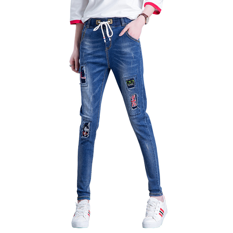 2017 spring new loose jeans women feet pants Korean fashion embroidery personalized pants loose waist jeans women jeans 2017 new korean casual cat embroidery loose jeans pants