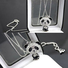 Tomtosh 2016 New Pretty Enamel Rhinestone Panda Pendant Necklace Women Crystal Accessories Sweater Necklaces Jewelry