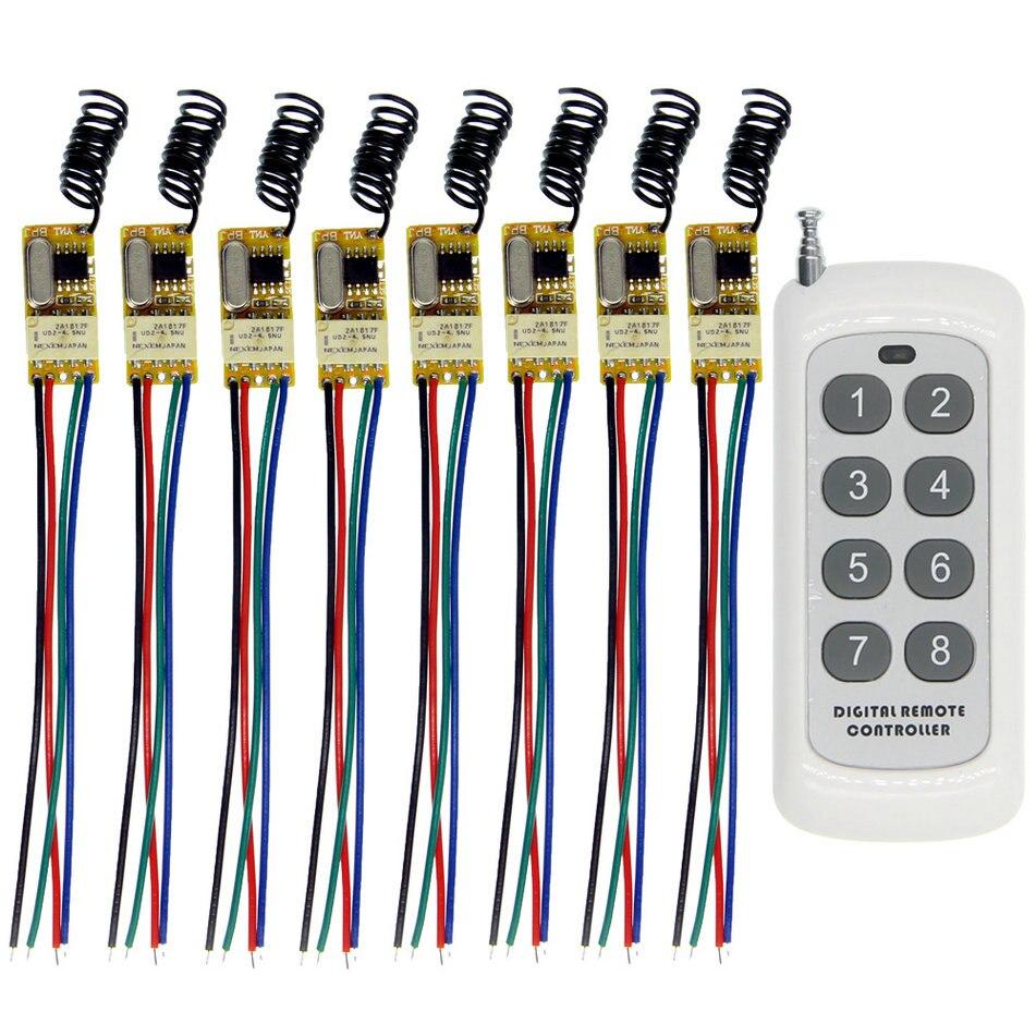Universal DC 3.6V 3.7V 4.2V 4.5V 5V 6V 7.4V 9V 12V Mini Relay Switch Contact NO COM NC 8CH Remote Wireless SwitchUniversal DC 3.6V 3.7V 4.2V 4.5V 5V 6V 7.4V 9V 12V Mini Relay Switch Contact NO COM NC 8CH Remote Wireless Switch