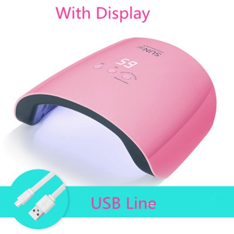 Sun5V UV Lamp 24W Nail Gel Polish Light LED Lamp for Curing Fingernail Toenail Manicure Tools Nail Dryer 30s/60s/99s Low Heat