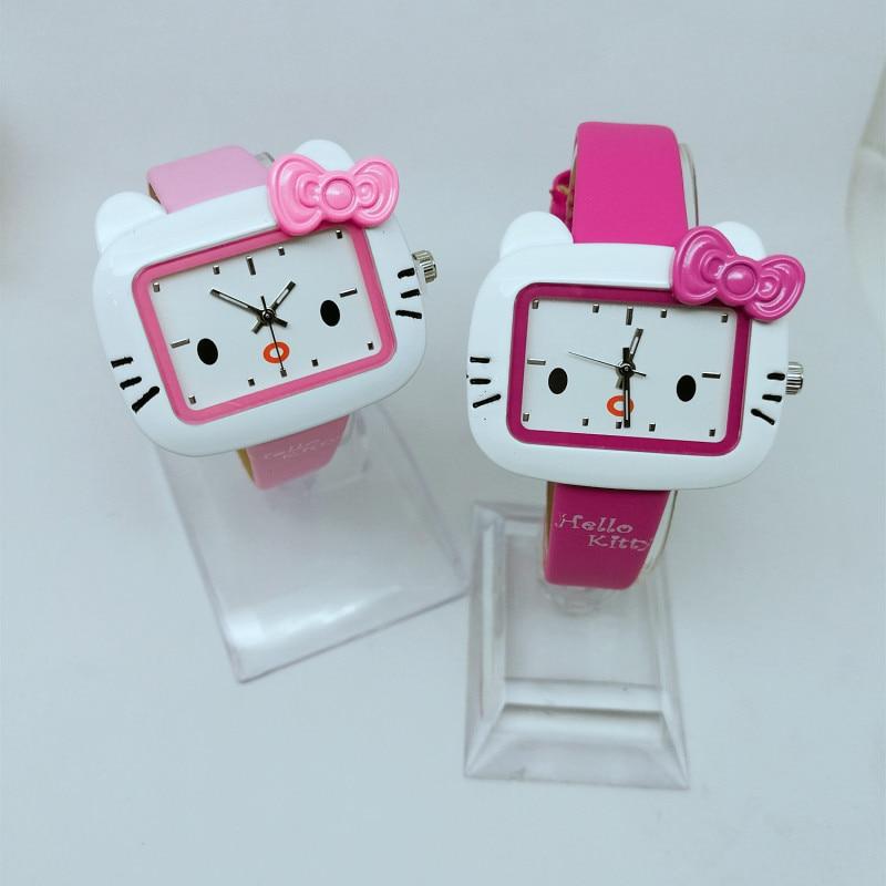 Cute Fashion KT Cat Ladies Watch Kids Cartoon Hello Kitty Watch Quartz Leather Strap Girls Watch