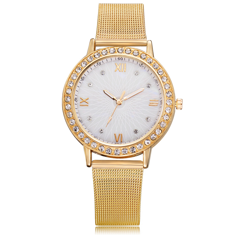Fashion Transparent Rhinestone Ladies Stainless Steel Mesh Watch Classic Ladies Watch Mama Girlfriend Gift