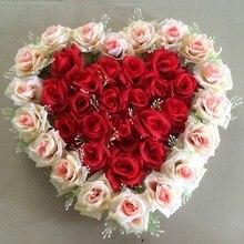 21 цвет, 40 см* 40 см, в форме сердца, розовые цветы, сукции, для свадьбы, автомобиля, стены и двери, вечерние, для дома, искусственные цветочные украшения