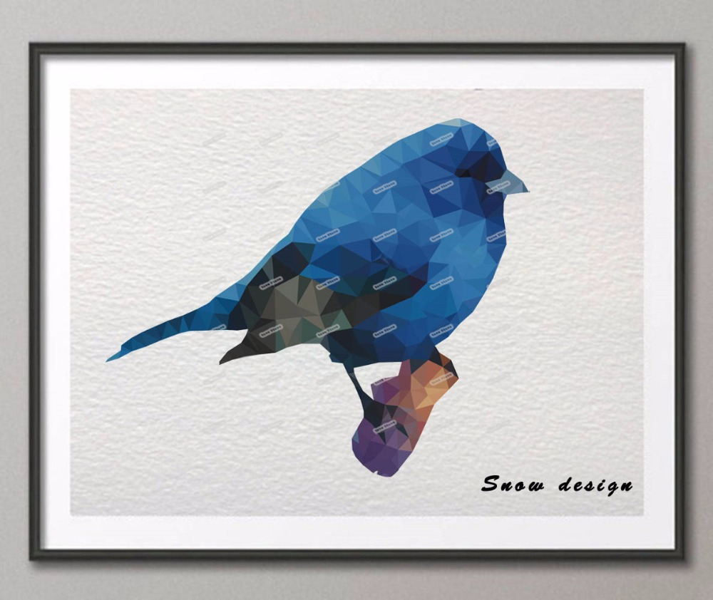 Low Poly Geometric Coral Blue Bird Canvas Painting Wall Art Poster Print Pictures Living Room Home