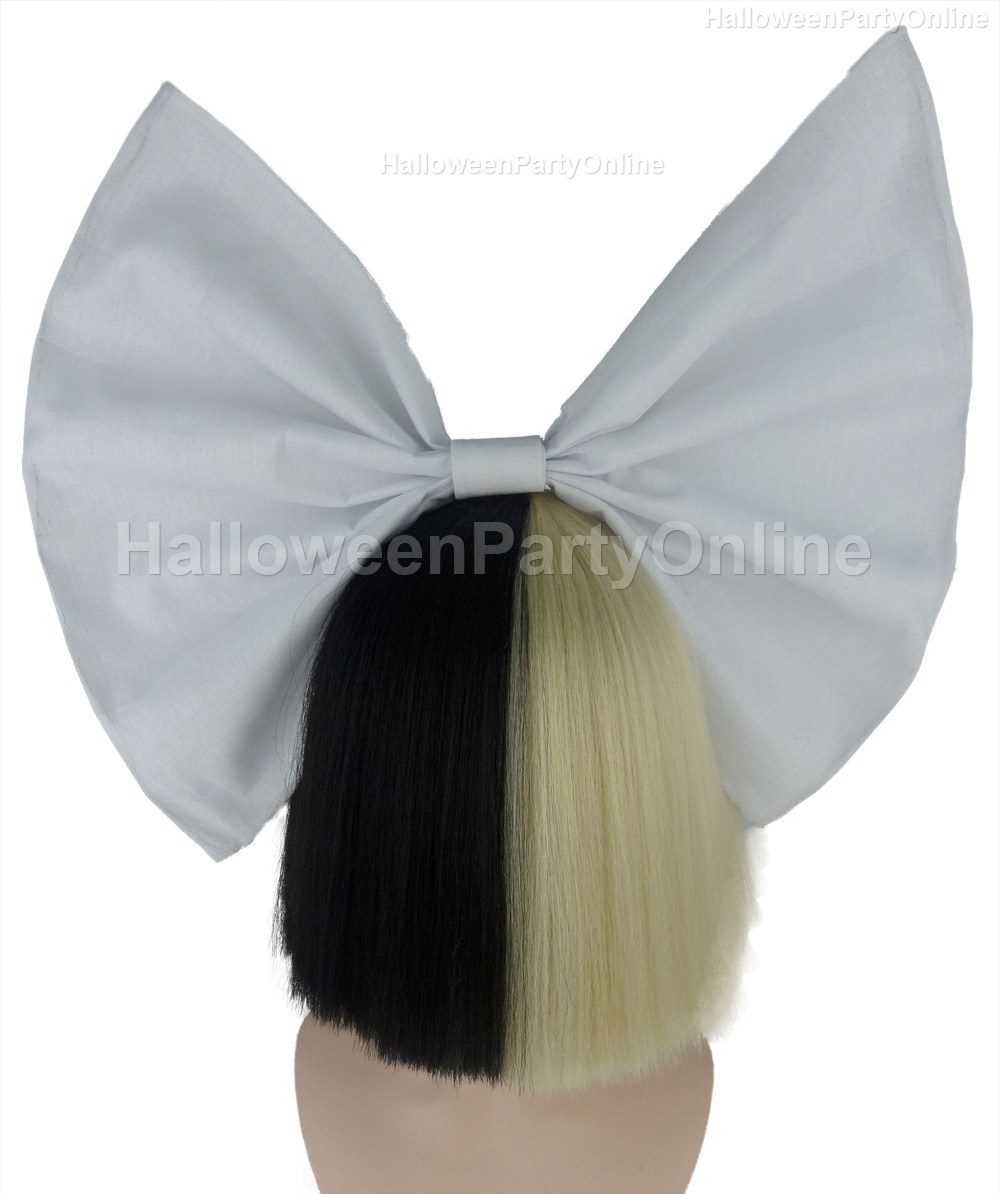 Halloween Party Online SIA Black & Blonde Shy Wig White Bow ...