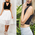Hot Summer Sexy Women Crop Top Hanging Halter Deep V Neck Sleeveless Women's Short Tank Top Solid Tees Vest Black White S-XL