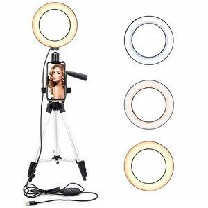 Image 1 - 9 אינץ טבעת אור חצובה Stand עבור Selfie תמונות YouTube קטעי וידאו איפור LED טבעת אור 10 בהירות רמות 3 תאורה מצבים