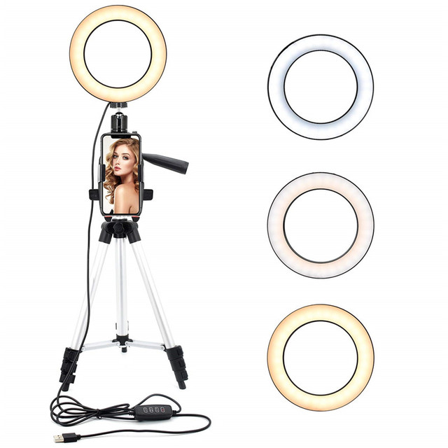 9 אינץ טבעת אור חצובה Stand עבור Selfie תמונות YouTube קטעי וידאו איפור LED טבעת אור 10 בהירות רמות 3 תאורה מצבים