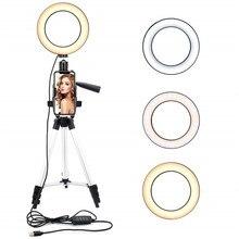 Кольцевой светодиодный светильник, Трипод для селфи, 9 дюймов, 10 уровней яркости, 3 режима