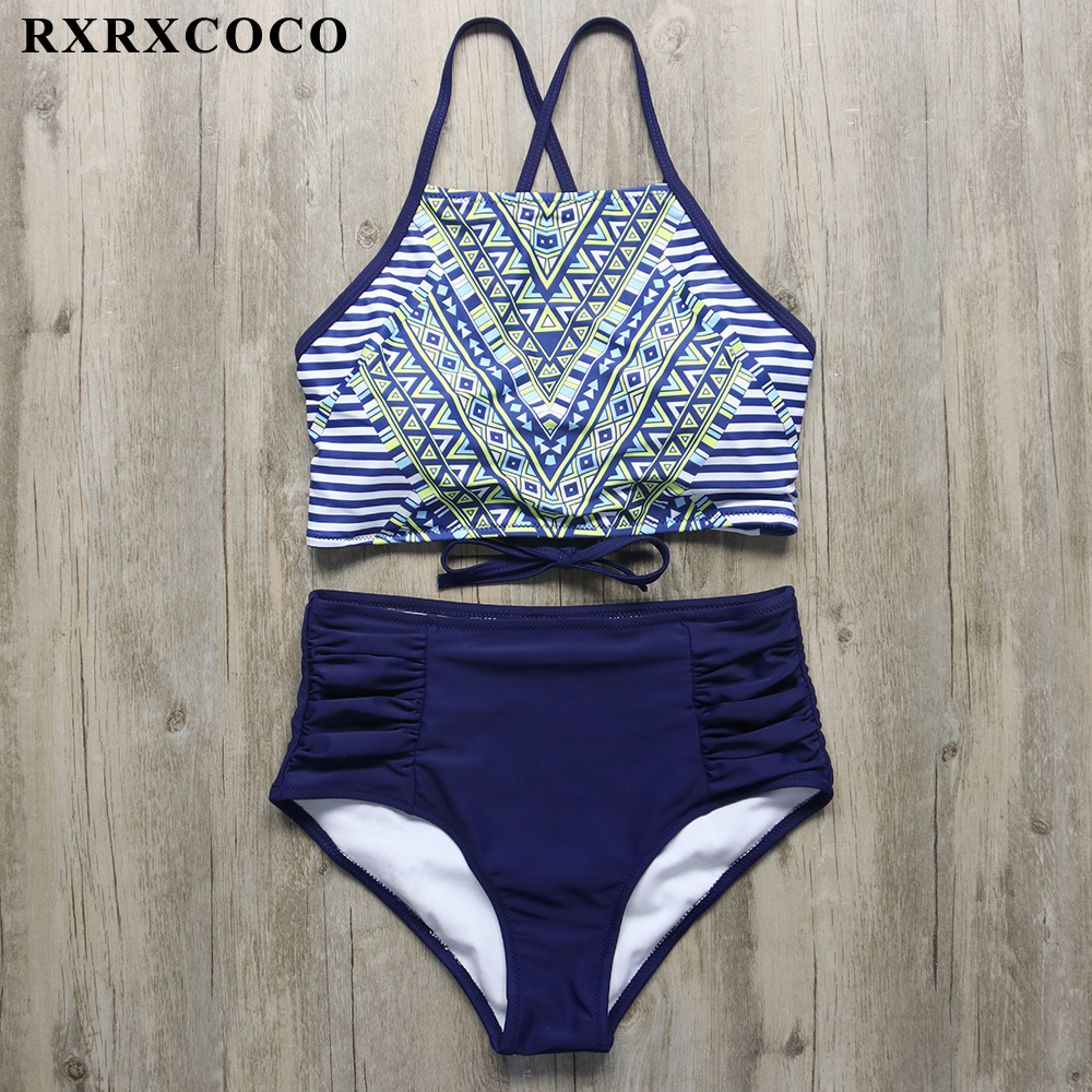 RXRXCOCO Printed Bandage <font><b>Bikini</b></font> Set Swimsuit <font><b>Women</b></font> <font><b>Sexy</b></font> High Neck <font><b>Swimwear</b></font> Female Push Up <font><b>Halter</b></font> <font><b>Brazilian</b></font> <font><b>Bikini</b></font> <font><b>2018</b></font> Beachwear image