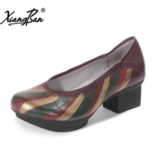 Xiangban original retro leather women shoes national wind painted round head shallow mouth women platform shoes