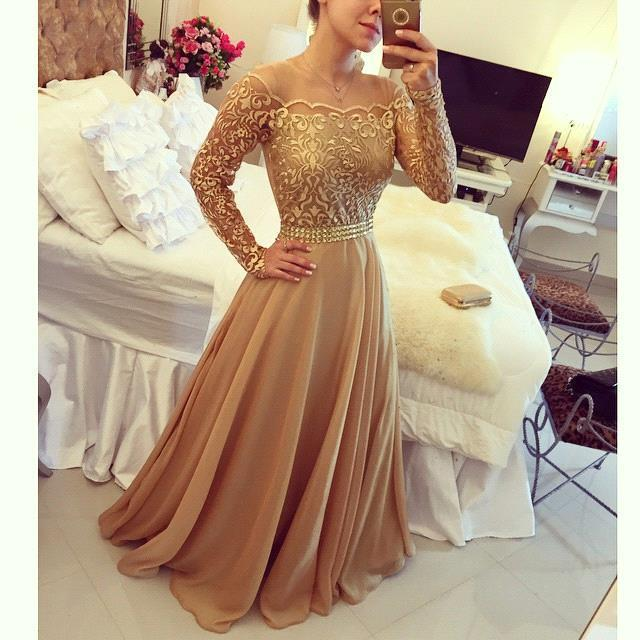 2018 New Arabic Lace   Prom     Dress   Golden Globe Off Shoulder Long Sleeve Chiffon A Line Evening   Dresses   Party Gowns Robe