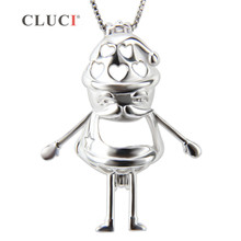 CLUCI Fine Jewelry Santa Claus Cage Pendant Christmas Gifts, Silver Pendant Necklace for womens and kids 3pcs