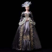 Индивидуальные вечерние платья в стиле рококо 18-го века в стиле барокко, бальные платья средневекового серого цвета с длинными расклешенными рукавами, кружевные театральные костюмы для женщин