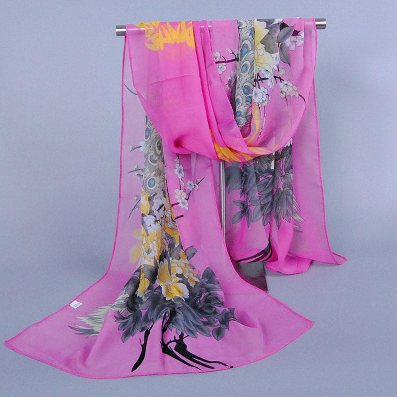 Summer Luxury Brand Women Chiffon Silk   Scarf   Fashion Lady Girls Peacock Flower Beach   Scarves   Female   Scarves     Wrap   Shawl Lic
