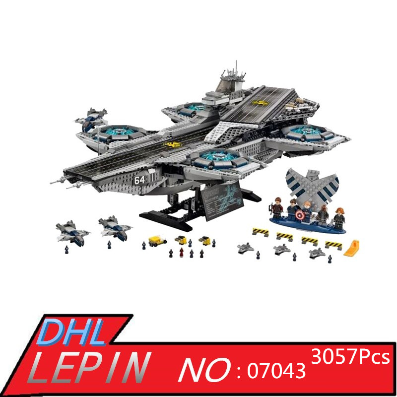 Super Heroes LEPIN 07043 3057Pcs The SHIELD Helicarrier Model Building Kits Blocks Bricks Toys for Children Compatible 76042 3057pcs 07043 the shield helicarrier set captain america winter soldier building blocks bricks compatible with lego