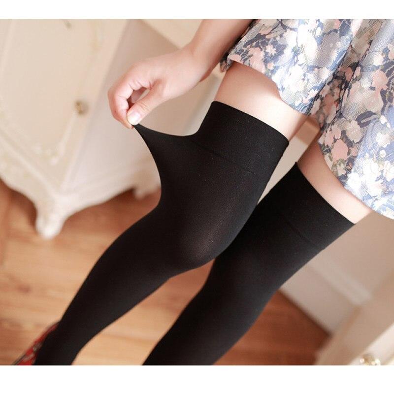 Nya sammet nylon kvinnor över knästrumpor solida ränder svarta - Underkläder - Foto 5